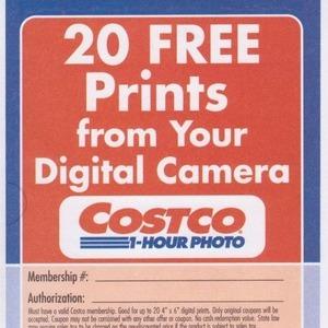 デジタルカメラ 20枚無料プリント券
