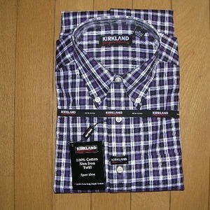 カークランド 100%コットン ノンアイロン ツイル スポーツシャツ