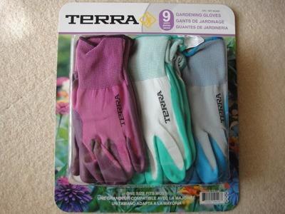 TERRA レディース ガーデン手袋 9双セット 3色アソート
