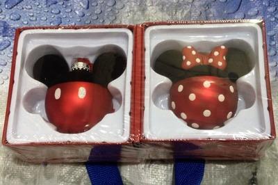 Disney ディズニー ガラスオーナメント ミッキー&ミニー セット