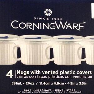 Corningware スープマグ 4個セット 蓋付き