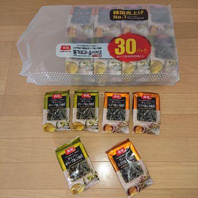 (名無し)さん[2]が投稿した両班(ヤンバン)エゴマ油入り海苔&オリーブ油入り海苔 30パックの写真